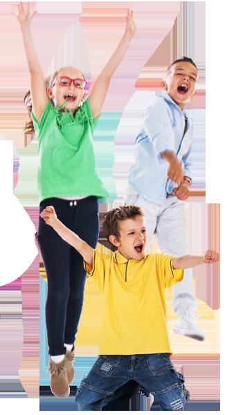 summer camp kids jumping