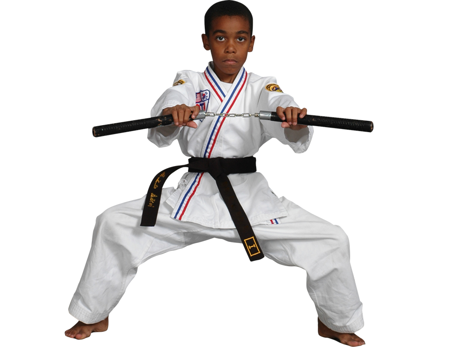 boy with martial arts weapon