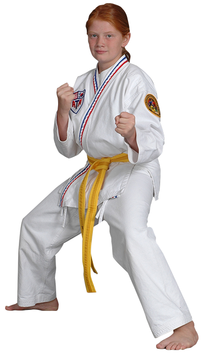 teen girl in karate stance