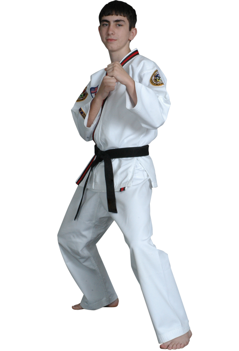 teen boy in karate stance